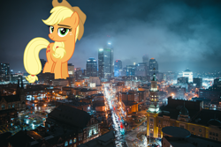 Size: 3840x2560 | Tagged: safe, artist:dashiesparkle, artist:jerryakiraclassics19, applejack, pony, building, city, cowboy hat, female, giant pony, giantess, hat, highrise ponies, indianapolis, irl, macro, mare, mega applejack, photo, ponies in real life, scenery, stetson