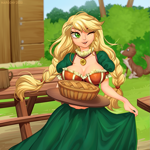 Size: 1197x1200 | Tagged: safe, artist:margony, edit, applejack, winona, dog, human, alternate hairstyle, blurred background, braid, braided pigtails, breasts, busty applejack, chest fluff, cleavage, clothes, colored pupils, cute, dress, ear fluff, female, food, humanized, jackabetes, jewelry, mare, necklace, one eye closed, open mouth, pie, twin braids, wink
