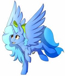 Size: 3032x3516 | Tagged: safe, artist:noxi1_48, oc, oc:danil cupcha, alicorn, pony, alicorn oc, bow, flying, horn, orange eyes, raffle, raffle prize, wings