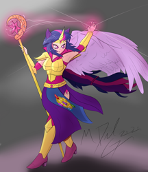 Size: 3750x4332 | Tagged: safe, artist:mdelg, twilight sparkle, human, armpits, blushing, cutie mark on human, eared humanization, horn, horned humanization, humanized, magic, redraw, staff, winged humanization, wings