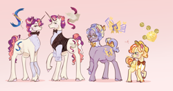 Size: 3713x1963 | Tagged: safe, artist:bunnari, oc, oc:lemonade stand, oc:rhyme, oc:ribbon bow, oc:riddle, earth pony, pony, unicorn, bow, colt, female, high res, male, mare, offspring, parent:cheerilee, parent:flam, parent:flim, parent:suri polomare, parents:cheeriflam, parents:suriflim, stallion, tail bow