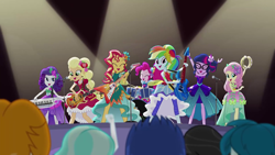 Size: 1280x720 | Tagged: safe, screencap, applejack, fluttershy, pinkie pie, rainbow dash, rarity, sci-twi, sunset shimmer, twilight sparkle, equestria girls, legend of everfree, alternate hairstyle, clothes, dress, drums, guitar, humane five, humane seven, humane six, keytar, legend you were meant to be, musical instrument, sleeveless, tambourine, the rainbooms
