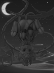 Size: 2500x3375 | Tagged: safe, artist:batsdisaster, rainbow dash, bat pony, pegasus, pony, bat ponified, bat wings, belly button, crescent moon, devil tail, fangs, featureless crotch, female, frog (hoof), grayscale, hanging, hanging upside down, mare, monochrome, moon, night, race swap, rainbowbat, slit eyes, smiling, solo, tree, tree branch, underhoof, upside down, vine, wings, wood