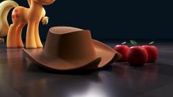 Size: 5120x2880 | Tagged: safe, artist:zgcbrony, applejack, earth pony, pony, 3d, apple, applejack's hat, blender, blender cycles, cowboy hat, food, hat, solo