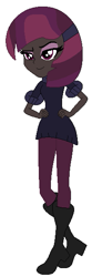 Size: 197x595 | Tagged: safe, artist:cookiechans2, artist:nightcorecat123, oc, oc only, oc:dark nebula, icey-verse, equestria girls, base used, boots, clothes, commission, equestria girls-ified, eyeshadow, female, jeans, magical lesbian spawn, makeup, offspring, pants, parent:moondancer, parent:oc:nocturne scroll, parents:canon x oc, parents:moonscroll, raised eyebrow, shoes, simple background, smug, solo, sweater, white background
