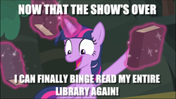 Size: 1369x771 | Tagged: safe, edit, edited screencap, screencap, twilight sparkle, equestria girls, forgotten friendship, spoiler:eqg series, after the show, book, bookhorse, caption, excited, image macro, meme, text, that pony sure does love books
