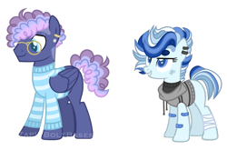 Size: 1101x726 | Tagged: safe, artist:zapwboltbases, oc, oc only, oc:blueberry bop, oc:north point, earth pony, pegasus, pony, bandage, bandaid, blank flank, clothes, duo, ear piercing, earring, female, glasses, grin, hoodie, jewelry, magical gay spawn, magical lesbian spawn, male, mare, multicolored hair, offspring, parent:double diamond, parent:night glider, parent:party favor, parent:sugar belle, parents:partydiamond, parents:sugarglider, piercing, scratches, simple background, size difference, sleeveless sweater, smiling, stallion, striped sweater, sweater, transparent background, watermark