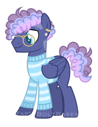 Size: 1520x1956   Tagged: safe, artist:zapwboltbases, oc, oc only, oc:blueberry bop, pegasus, pony, blank flank, clothes, ear piercing, earring, glasses, jewelry, magical lesbian spawn, male, multicolored hair, offspring, parent:night glider, parent:sugar belle, parents:sugarglider, piercing, simple background, solo, stallion, striped sweater, sweater, transparent background