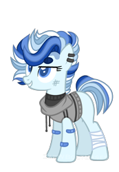 Size: 1356x1956   Tagged: safe, artist:zapwboltbases, oc, oc only, oc:north point, earth pony, pony, bandage, bandaid, blank flank, clothes, ear piercing, earring, female, grin, hoodie, jewelry, magical lesbian spawn, mare, multicolored hair, offspring, parent:double diamond, parent:party favor, parents:partydiamond, piercing, scratches, simple background, sleeveless sweater, smiling, solo, sweater, transparent background