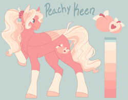 Size: 3182x2500 | Tagged: safe, artist:puppygeist, oc, oc:peachy keen, pegasus, pony, colored wings, colored wingtips, female, freckles, magical lesbian spawn, mare, offspring, parent:fluttershy, parent:pinkie pie, parents:flutterpie, pegasus oc, reference sheet, socks (coat marking), solo, tongue out