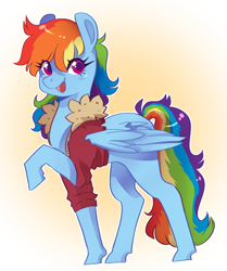 Size: 2216x2656 | Tagged: safe, artist:dinskii, rainbow dash, pegasus, pony, clothes, cute, dashabetes, female, high res, jacket, mare, open mouth, solo