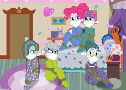 Size: 1058x755 | Tagged: safe, artist:robukun, cloudy quartz, limestone pie, marble pie, maud pie, pinkie pie, equestria girls, bondage, bound and gagged, cloth gag, clothes, footed sleeper, gag, hair curlers, pajamas, rope, rope bondage, tied up