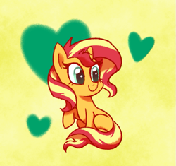 Size: 701x659 | Tagged: safe, artist:doodledaydreamer, artist:doodledaydreamer-mlp, sunset shimmer, pony, unicorn, chibi, cute, female, heart, mare, shimmerbetes, simple background, sitting, solo, yellow background