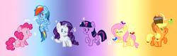 Size: 1102x353 | Tagged: safe, artist:doodledaydreamer-mlp, applejack, fluttershy, pinkie pie, rainbow dash, rarity, twilight sparkle, bird, earth pony, pegasus, pony, unicorn, apple, chibi, cute, eyes closed, female, food, gradient background, mane six, mare, music notes, one eye closed, open mouth, unicorn twilight, wink