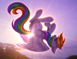 Size: 2600x2000 | Tagged: safe, artist:avrameow, rainbow dash, pegasus, pony, crepuscular rays, ear fluff, female, flying, high res, looking at you, mare, profile, solo, spread wings, sun, sunlight, wings