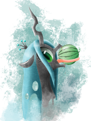 Size: 1590x2119 | Tagged: safe, artist:yamasan3121, queen chrysalis, changeling, abstract background, bust, changeling loves watermelon, eating, fangs, female, food, looking at you, open mouth, portrait, profile, solo, tongue out, watermelon