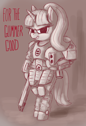 Size: 1366x2000 | Tagged: safe, artist:t72b, derpibooru exclusive, starlight glimmer, pony, tau, armor, bipedal, equal cutie mark, fire warrior, grin, helm, heresy, hoof hold, oh no, pulse rifle, s5 starlight, smiling, solo, stalin glimmer, tau empire, the tau empire are not space commies, warhammer (game), warhammer 40k