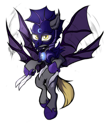 Size: 4100x4800 | Tagged: safe, artist:tatykin, oc, oc only, oc:night striker, bat pony, pony, armor, bat pony oc, four wings, guard, hoof blades, hoof shoes, metal claws, multiple wings, palindrome get, simple background, solo, white background, wings