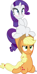 Size: 1573x3085 | Tagged: safe, artist:anime-equestria, applejack, rarity, earth pony, unicorn, applejack's hat, blushing, cowboy hat, cute, duo, female, hat, jackabetes, lesbian, lifting, mare, ponytail, raribetes, rarijack, shipping, simple background, transparent background, vector