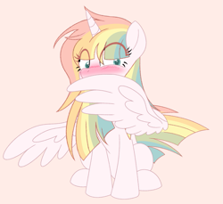 Size: 817x750 | Tagged: safe, artist:owlity, oc, oc only, oc:sweet dreams, alicorn, pony, alicorn oc, blushing, multicolored hair, rainbow, rainbow alicorn, rainbow hair, simple background, spread wings, wingboner, wings