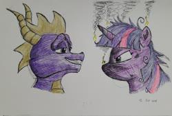 Size: 2978x2014 | Tagged: safe, artist:rockhoppr3, twilight sparkle, dragon, pony, angry, burned, crossover, messy mane, smoke, smug, spyro the dragon, traditional art