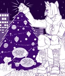 Size: 891x1041 | Tagged: safe, artist:krowzivitch, mayor mare, oc, oc:golden age, anthro, unicorn, boots, christmas, city, clothes, coat, crowd, female, giantess, gloves, holiday, macro, monochrome, night, ornaments, shoes, solo, stars