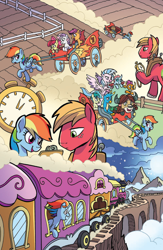 Size: 994x1528 | Tagged: safe, artist:tonyfleecs, idw, apple bloom, big macintosh, gallus, ocellus, rainbow dash, sandbar, scootaloo, silverstream, smolder, sweetie belle, yona, spoiler:comic, spoiler:comic87, cutie mark crusaders, montage, preview, student six, train