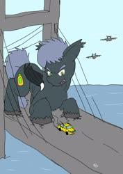 Size: 1451x2048 | Tagged: safe, artist:omegapony16, oc, oc only, bat pony, pony, bat pony oc, bridge, car, jet, jet fighter, macro, male, open mouth, plane, stallion, taxi, unshorn fetlocks, water