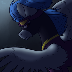 Size: 1000x1000 | Tagged: safe, artist:thundershock0823, nightshade, pegasus, pony, clothes, costume, female, goggles, mare, newbie artist training grounds, shadowbolts, shadowbolts costume, solo, wings