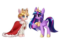 Size: 4093x2894 | Tagged: safe, artist:shu-jeantte, twilight sparkle, oc, oc:historia, alicorn, pony, clothes, crown, female, jewelry, mare, regalia, robe, simple background, transparent background, twilight sparkle (alicorn)