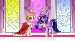 Size: 1280x720 | Tagged: safe, alternate version, artist:shu-jeantte, twilight sparkle, oc, oc:historia, alicorn, pony, clothes, crown, female, jewelry, mare, regalia, robe, stained glass, twilight sparkle (alicorn)