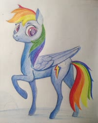 Size: 2783x3464 | Tagged: safe, artist:ponsce, rainbow dash, pegasus, pony, one hoof raised, solo, traditional art