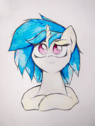 Size: 3024x4032 | Tagged: safe, artist:papersurgery, dj pon-3, vinyl scratch, pony, bust, solo, traditional art, watercolor painting