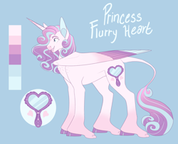 Size: 3000x2435 | Tagged: safe, artist:puppygeist, princess flurry heart, alicorn, classical unicorn, pony, blue background, cloven hooves, colored wings, colored wingtips, female, leonine tail, mare, older, older flurry heart, reference sheet, simple background, solo, unshorn fetlocks