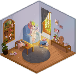 Size: 923x891 | Tagged: safe, artist:shiroikitten, oc, bear, cow, fox, octopus, pig, pony, rabbit, unicorn, whale, animal, female, isometric, magic, mare, pixel art, plushie, room, sewing, solo, table