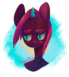 Size: 1280x1423 | Tagged: safe, artist:yuyusunshine, tempest shadow, anthro, bust, crystal horn, cute, horn, portrait, simple background, solo, tempest gets her horn back, tempestbetes, transparent background