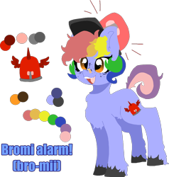 Size: 1430x1502 | Tagged: safe, artist:nootaz, oc, oc only, oc:bromi alarm, chest fluff, reference sheet, simple background, solo, transparent background