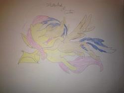 Size: 3264x2448 | Tagged: safe, artist:carlos324, fluttershy, oc, oc:carlos, bat pony, pegasus, bat ponified, canon x oc, color pencil drawing, flutterbat, flying, kissing, race swap, romance, traditional art