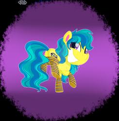 Size: 1600x1634 | Tagged: safe, artist:missmele-madness, oc, earth pony, pony, my little pony: pony life, butt, clothes, deviantart watermark, male, obtrusive watermark, plot, socks, solo, stallion, striped socks, watermark