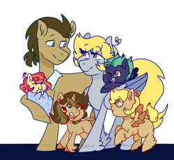 Size: 1280x1173 | Tagged: safe, artist:cubbybatdoodles, derpy hooves, ditzy doo, doctor whooves, time turner, oc, earth pony, pegasus, pony, unicorn, colt, daughter, doctorderpy, family, father, father and child, father and daughter, father and son, female, filly, foal, glasses, male, mare, mother, mother and child, mother and daughter, mother and son, offspring, one eye closed, parent:derpy hooves, parent:ditzy doo, parent:doctor whooves, parent:time turner, parents:doctorderpy, shipping, son, stallion, straight, teething ring, tooth gap, unshorn fetlocks