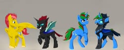 Size: 1280x519   Tagged: safe, artist:rutkotka, oc, oc only, changeling, pegasus, pony, unicorn, disguise, disguised changeling