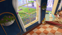 Size: 2800x1600   Tagged: safe, artist:emeraldgalaxy, princess celestia, raven, pony, balcony, flower, royal guard, window