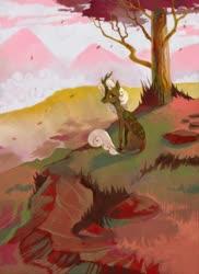 Size: 786x1080 | Tagged: safe, artist:dearmary, oc, oc only, kirin, kirin oc, leaves, mountain, scenery, solo, tree