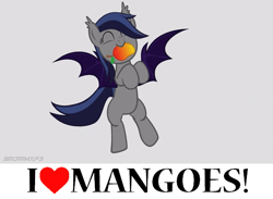 Size: 561x411 | Tagged: safe, artist:stormxf3, edit, oc, oc only, oc:echo, bat pony, pony, bat pony oc, bipedal, cute, dancing, ear tufts, eyes closed, female, food, gray background, happy, mango, mare, mouth hold, nom, ocbetes, simple background, smiling, solo, spread wings, that batpony sure does love mangoes, wings