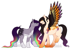 Size: 2128x1496 | Tagged: safe, artist:aledera, oc, oc only, oc:naya, oc:oculus, earth pony, original species, female, male, mare, simple background, stallion, transparent background