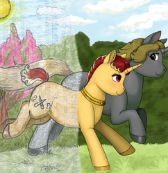 Size: 1876x1936 | Tagged: safe, artist:69beas, oc, oc only, oc:jessie feuer, oc:luri equestria, pony, unicorn, collar, colored hooves, couple, digital art, duo, ear fluff, female, forest, jessuri, looking at each other, male, mare, running, shipping, stallion, straight, traditional art