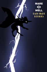Size: 2188x3341 | Tagged: safe, artist:xander, mare do well, batman, cover art, female, lightning, solo, solo female
