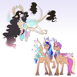 Size: 3000x3000   Tagged: safe, artist:bunnari, oc, oc only, oc:astral serenity, oc:cosmic harmony, oc:eterna, alicorn, draconequus, hybrid, pony, alicorn oc, crown, draconequus oc, female, high res, interspecies offspring, jewelry, magic, mare, offspring, parent:discord, parent:flash sentry, parent:princess celestia, parent:twilight sparkle, parents:dislestia, parents:flashlight, regalia, siblings, sisters, telekinesis, twin sisters, twins, unshorn fetlocks