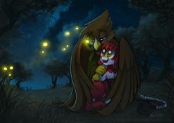 Size: 800x566 | Tagged: safe, artist:elbdot, oc, oc:desert willow, firefly (insect), griffon, insect, pony, dark, female, grass, griffon oc, happy, hug, night, night sky, sad, sky, tree, winghug, wings
