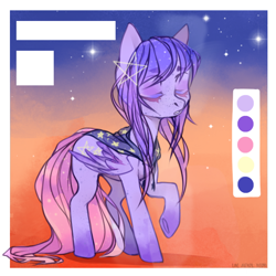 Size: 724x724 | Tagged: safe, artist:okameinko, oc, oc only, oc:starfish galaxy, pegasus, pony, adopted oc, bandana, eyes closed, female, mare, multicolored hair, multicolored mane, reference sheet, sky, solo, stars